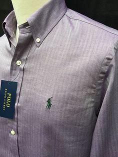 BNWT Current Season Ralph Lauren Mens Shirt M Regular Fit Purple Herringbone | eBay