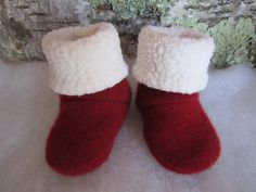 Infant's red cashmere sock booties lined in Polartek by Damacar, $18.00