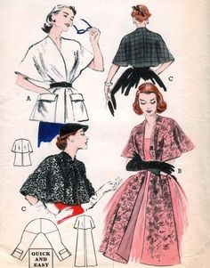 1950s STOLES, CAPES PATTERN 3 PRACTICAL, GLAMOROUS STYLES QUICK n EASY BUTTERICK 6039
