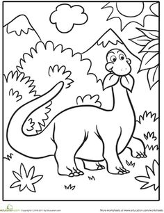 This cute dinosaur is taking a snack break and chowing down on some nutritious leaves. Young dinosaur-lovers will enjoy coloring in this prehistoric scene. Dinosaur Worksheets, Dinosaur Activities, Dinosaur Crafts, Cute Dinosaur, Dinosaur Party, Dinosaur Birthday, Dinosaur Snacks, Preschool Coloring Pages, Free Coloring