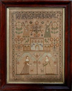 Phebe Whittell, 1807.  Four beautiful ladies on this sampler makes me think of the four seasons or the four directions.  To have the focus be on the women is really interesting to me, and is unusual to see on a sampler.