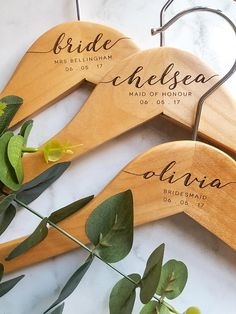 Personalised - Custom - Wooden - Engraved - Wedding - Clothes - Dress - Hanger - Name - Brida. Personalised – Custom – Wooden – Engraved – Wedding – Clothes – Dress – Hanger – Na Wedding Coat Hangers, Bridal Hangers, Bridesmaid Hangers, Bridesmaid Gifts, Bridesmaids, Bridesmaid Dresses, Wedding Dresses, Gifts For Wedding Party, Party Gifts