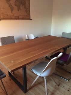 Esszimmertisch, Massiv, Eichenholz, Stahlgestell Conference Room, Dining Table, Furniture, Home Decor, Decoration Home, Room Decor, Dinner Table, Home Furnishings, Dining Room Table