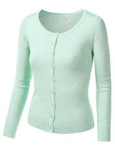 LE3NO Womens Soft Fitted Basic Cardigan Sweater LE3NO http://www ...