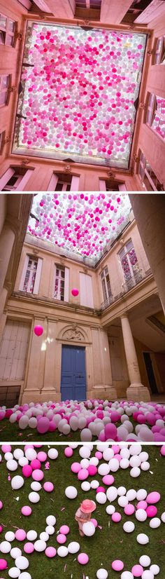 A Ceiling of Pink Balloons Contained in a French Hotel Courtyard Mimics the Fall of Cherry Blossoms