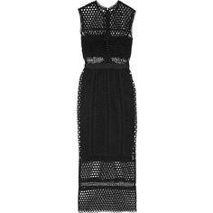 Self-Portrait Macramé lace midi dress ($470) ❤ liked on Polyvore featuring dresses, black, black midi dress, black lace cocktail dress, black fitted top, fitted lace top and lacy dress