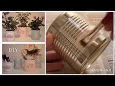 DIY tutorial riciclo creativo : Come riciclare i barattoli di latta in stile Shabby Chic con la tecnica del decoupage , idee semplici per riutilizzare i bara...