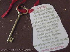 Nap Time Journal: christmas / key for santa claus =)  great for houses w/o chimneys =)  @Deanna Luke