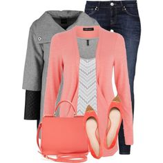 Peach & Gray by fortheloveofpoly on Polyvore featuring moda, Taifun, Mavi, Tory Burch and Dolce&Gabbana