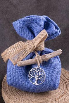 Μπομπονιέρα με δέντρο της τύχης σε σιελ λινάτσα! | bombonieres.com.gr