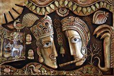Clay Wall Art, Mural Wall Art, Murals, Pichwai Paintings, Indian Art Paintings, Moon Painting, Mural Painting, Aluminum Foil Art, Rajasthani Painting