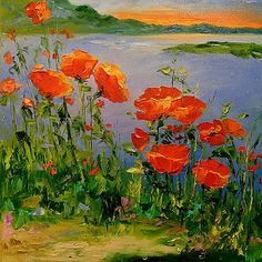 Poppies near the river Canvas Print by olhadarchuk