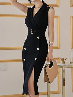 Surplice Neck Black Daytime Sexy Sleeveless Slit Solid Midi Dress - Surplice Neck Black Daytime Sexy Sleeveless Slit Solid Midi Dress Source by catalinabumb - Classy Dress, Classy Outfits, Casual Outfits, Womens Clothing Stores, Clothes For Women, Woman Clothing, Golf Clothing, Black Women Fashion, Womens Fashion