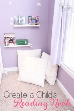 I love easy kids bedroom ideas like this idea to to create a cozy reading nook in the corner of a room. Perfect for encouraging reading!