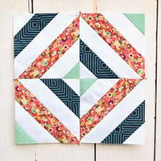 Floral Scrap Quilt Block Pattern | FaveQuilts.com