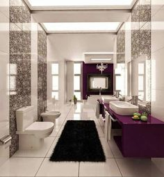Purple Black And White Graphic Print Bathroom Tile Installation Around Tub Designs Accent Wall Backsplash Height Combinations Makeovers Diy Layout Tips Vintage Vanity Trends Bath Rooms Tiles Floor For Shower http://www.urbanhomez.com/decors/bathroom Get Latest Designs & Decor Ideas for your Home at http://www.urbanhomez.com/decor Get hundreds of Designs for the Interiors of your Home at http://www.urbanhomez.com/photos Find Top Modular Kitchen Manufacturers at…