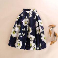 Summer Autumn Winter Flared Skirt Pleated Midi Skirt Retro Floral Print Ladies High Waist Elegant Vintage Skirts Femininas Saias