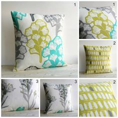 Green and Grey Designer Pillow Sham  18x18 Pillow by CoupleHome, $28.50