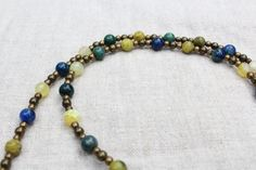 Long necklace, Lapis Lazuli, semi precious stones and brass, boho chique, stimulates creativity by WildWomansHeart on Etsy