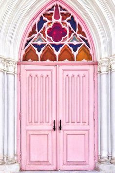 Detailed pink doors with stained glass arch over the top in Irkutsk, Siberia, Russia Grand Entrance, Entrance Doors, Doorway, Cool Doors, Unique Doors, Decoration Facade, Doors Galore, When One Door Closes, Santiago Calatrava