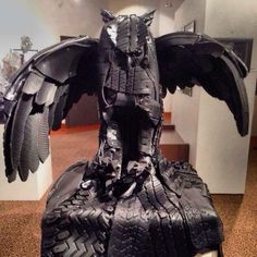 Owl sculpture made from old tires