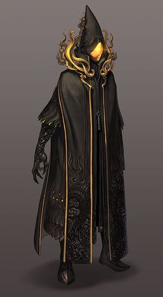 JinM Mushin Arts Training Uniform  | Wizard, monk | Black and yellow cape | magician | fantasy characters concept art