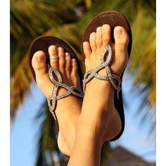 Zanzibar Silver Thong Sandalsrollover
