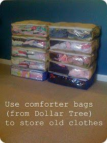 Great organization idea for basemen vs. bin clothes containers