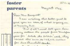 Part of a letter sent to Eleanor Roosevelt (her sponsor) by a Guernsey evacuee girl in England. See http://guernseyevacuees.wordpress.com/eleanor-roosevelt-the-guernsey-evacuee/