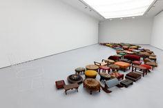 Valeska Soares. Un-Rest, 2010, 128 foot stools and 1 glass chair