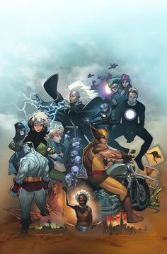 Uncanny X-Men #600 variant cover by Olivier Coipel featuring the Outback Era team and other notable characters: (clockwise from upper right) a Malice-possessed Polaris, Madelyne Pryor, Havok, Longshot, Wolverine, Gateway, the Reavers and Lady Deathstrike, Colossus, Psylocke, Rogue, Dazzler and Storm