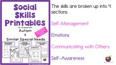 What to expect from the Social Skills Printables for Students with Autism.  This video will show a few of the pages from the work packet. Social Skills Autism, Autism Resources, Preschool Special Education, Emotional Development, Kindergarten Activities, Adhd, It Hurts, Aesthetics, Self