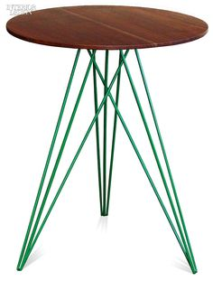Year in Review: 70 Must-See Furnishings | Hudson side tables in walnut with powder-coated steel legs in red and green by Tronk Design. #design #interiordesign #interiordesignmagazine
