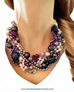 TWISTED, Statement Necklace, Gray, Purple, Lavender, Ivory, Chunky, Pearls, Bridal, Bridesmaid, Jewelry by Jessica Theresa. $75.00, via Etsy.