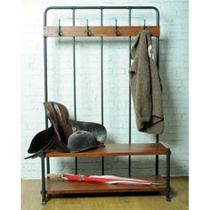This Hall Bench and Coat Rack from our Industrial Collection provides a fantastic Urban Edge with a contemporary design, perfect for giving the best first impressions to your guest. Coat Rack Bench, Bench Coats, Industrial Furniture, Industrial Style, Vintage Industrial, Industrial Bench, Rustic Furniture, Industrial Design, Hall Bench With Storage