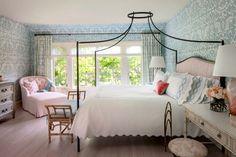 Breezy Traditional in Santa Barbara — The Foo Dog Blog Quadrille Bali isle wallpaper canopy bed bedroom