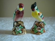 Salt Pepper Shakers Birds Parrots Vintage Japan. I have these