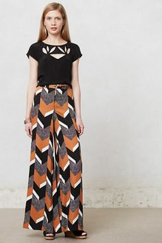Anthropologie Chevron Wide-Legs Pants Trousers Size 12, By Elevenses
