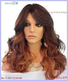 Lace Front Heat Friendly Wig Long Loose Curls Skin Top Clr OM23033 USA Seller #Sepia