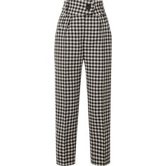 Petar Petrov Hang gingham wool-crepe tapered pants (44.280 RUB) ❤ liked on Polyvore featuring pants, wool trousers, slim fit wool pants, tapered trousers, slim tapered pants and crepe pants