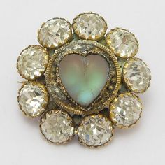 Beautiful Victorian Heart Shaped Saphiret Paste Brooch