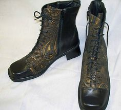 NAOT BLACK ANKLE BOOTS W GOLD BLUE BRONZE PAISLEY DESIGN LEATHER BOOTS SIZE 42 USA 11 What a great find starting at $79.98
