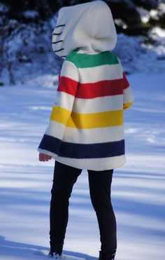 An outfit featuring the unique striped Hudson's Bay Coat designed with Canadian Designers Smythe. Canadian Clothing, What To Wear Today, How To Wear, Hudson Bay Blanket, Retro Dress, Autumn Winter Fashion, Winter Style, Vintage Outfits, Jackets