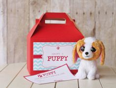 puppy adoption box #puppy party # party favor #homespun hostess