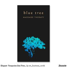 Elegant  Turquoise Zen Tree Logo Black 2 Double-Sided Standard Business Cards (Pack Of 100)