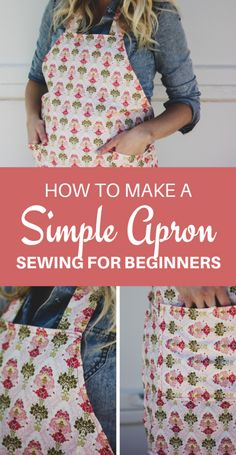 How to Make an Apron - Simple and Easy DIY Apron Tutorial Click now to learn how to make your own DIY apron with pockets. Includes measurements for a pattern! Super fun and easy sewing tutorial for beginners . Diy Sewing Projects, Sewing Projects For Beginners, Sewing Hacks, Sewing Tutorials, Sewing Crafts, Sewing Tips, Diy Crafts, Beginer Sewing Projects, Sewing Machine Projects