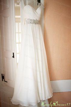 Flowing Beaded White A-line Sweetheart Neckline Court Train Chiffon Wedding Dress