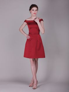 Off the Shoulder Vintage Bridesmaid Dress. Luv style not particular a fan of red for beidesmaids dresses.