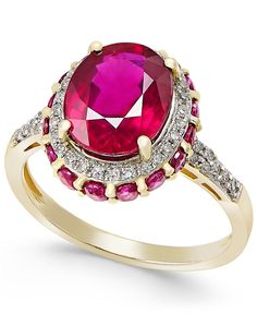 Ruby (4 ct. t.w.) and White Sapphire (1/3 ct. t.w.) Oval Ring in 10k Gold