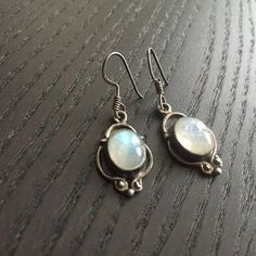 Moonstone earrings Moonstones set into antiqued silver. In good condition! Jewelry Earrings